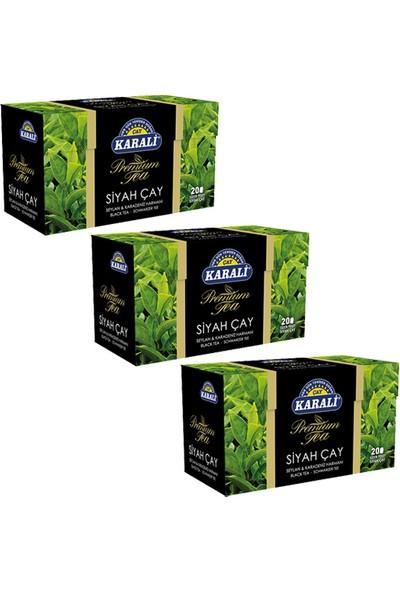 Karali Çay Karali Premium Bardak Poşet Siyah Çay 20'li x 3 Adet