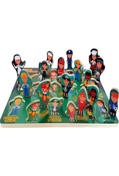 Woodylife Montessori Ingilizce Türkçe Meslekleri Öğrenme Çocuk Ahşap Oyuncak