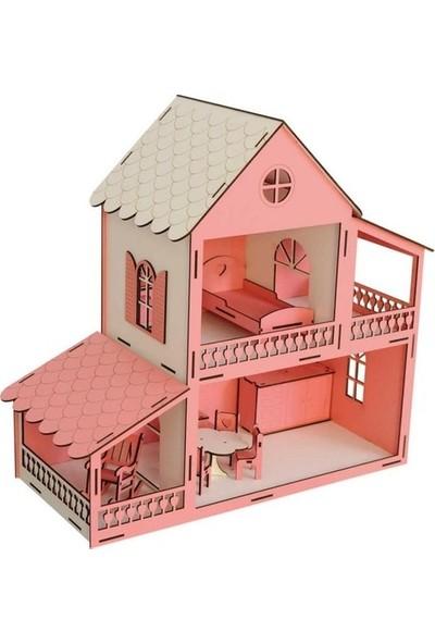 Woodylife Ahşap Oyuncak Ev Portatif Bebek Evi Lol Bebek Barbie Uyumlu 2 Katlı