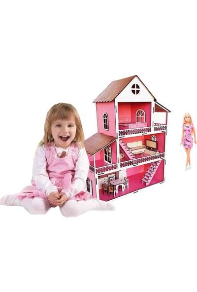 Woodylife Barbie Hediyeli Oyuncak Ahşap Ev Portatif Bebek Çocuk Oyun Evi