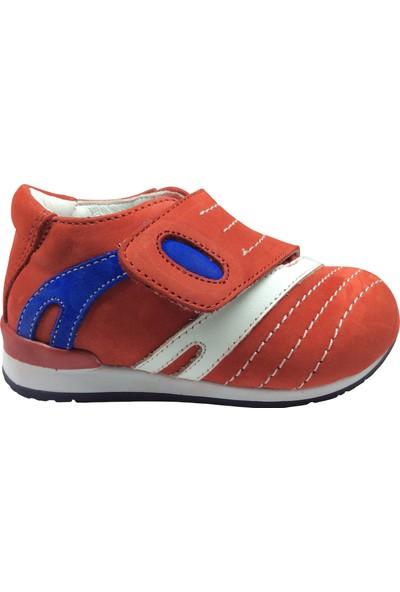 Fikretbebelolita Tıpış Tıpış Raduno Bebe Erkek Çocuk Spor Ayakkabı Kırmızı Nubuk Deri Ortopedik Anatomik Yandan Kalın Tek Cırtlı