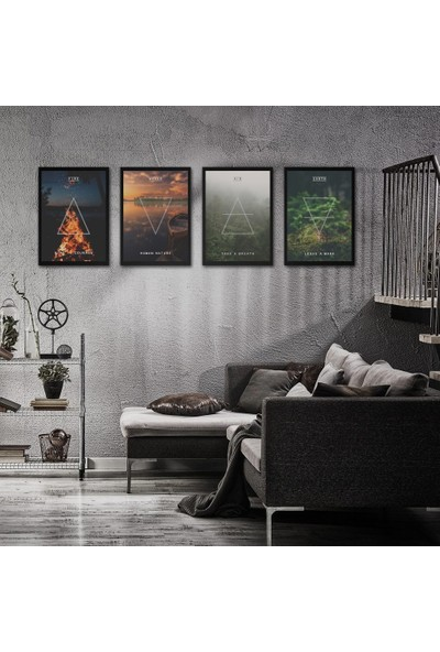 Polnight Dört Element Çerçeveli Poster Seti 30x40 cm