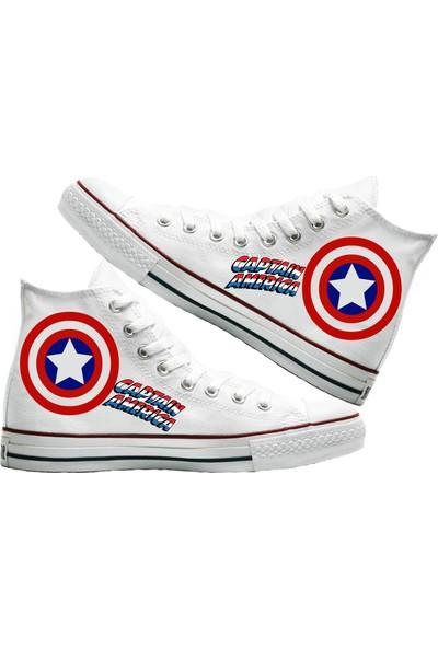 Art Fashion Captain America Baskılı Unisex Canvas Ayakkabı