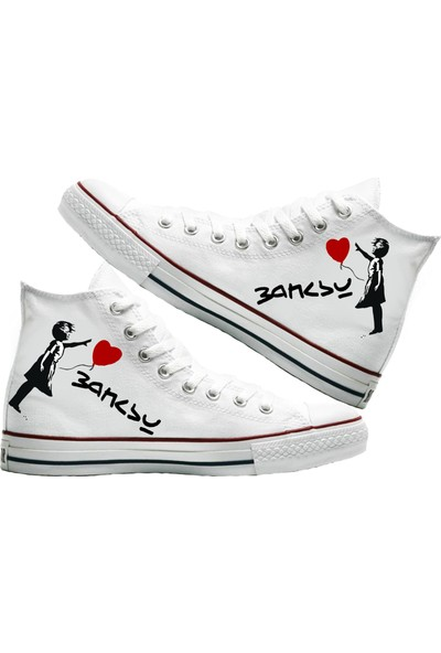 Art Fashion Banksy Baskılı Unisex Canvas Ayakkabı