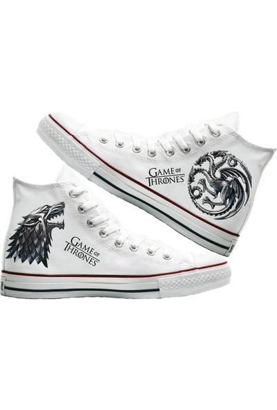 Art Fashion Dragons and Wolf Baskılı Unisex Canvas Ayakkabı
