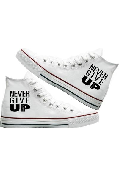 Art Fashion Never Give Up Baskılı Unisex Canvas Ayakkabı