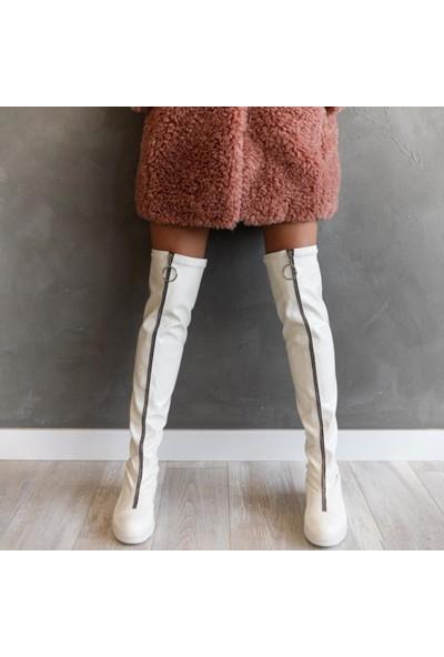 Limoya Alegra Beyaz Kırışık Rugan Önden Fermuarlı Dizüstü Streç Çizme