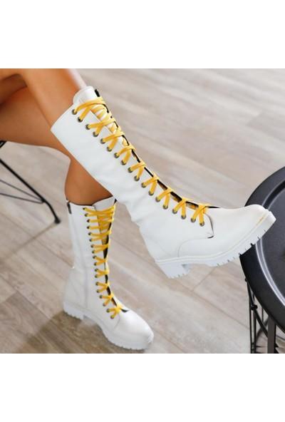 Limoya Denise Beyaz Deri Limon Bağcıklı Postal Çizme