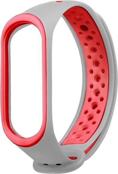 Pufwin Xiaomi Mi Band 3 Mi Band 4 Akıllı Bileklik Spor Kordon - Gri Kırmızı