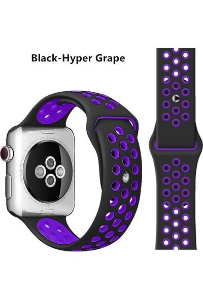 Schulzz Apple Watch Premium 42-44 mm 2-3-4-5 Uyumlu Spor Delikli Silikon Kordon