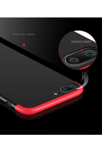 Efsunkar Apple iPhone 7 Plus Ultra Lüx Görünümlü 360 Full Tam Kaplayan Kap Kılıf - Siyah - Kırmızı