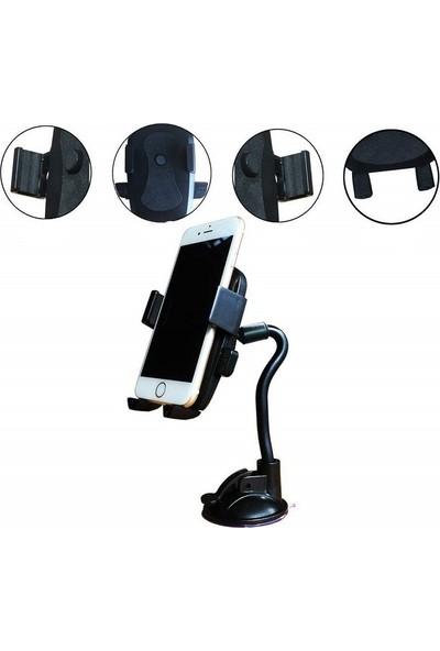 Engo Araç İçi Yaylı Açı Ayarlı Telefon Tutucu 360 Derece Dönebilen Universal Vantuzlu Tutacak Mavi