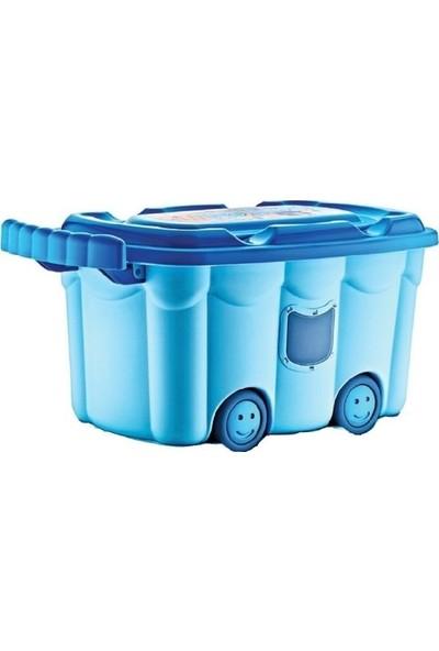 Ikbalhome Tekerlekli Oyuncak Kutusu Mavi
