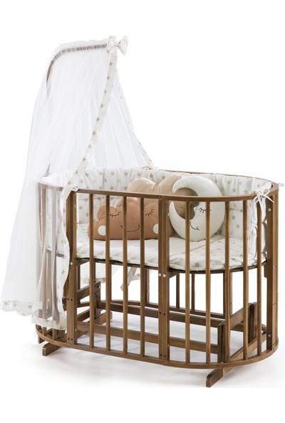 Heyner Ahşap Ceviz Renk Play Stokke 7 in 1 Sepet Beşik, Anne Yanı Beşik, Karyola, Alt Değiştirme Sehpası, Masa, Sandalye - Krem Yıldız Uyku Seti & Soft Yatakları