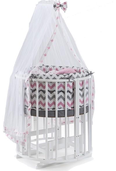 Heyner Ahşap Lake Beyaz Renk Play Stokke 7 in 1 Sepet Beşik, Anne Yanı Beşik, Karyola, Alt Değiştirme Sehpası, Masa, Sandalye - Pembe Yıldız Uyku Seti & Soft Yatakları