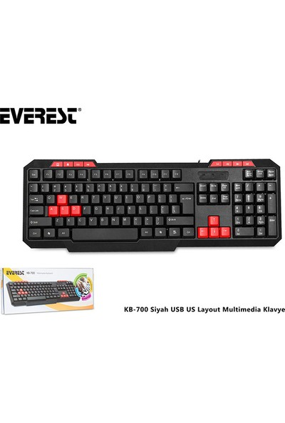 Everest KB-700 Siyah USB US Layout Multimedia Klavye