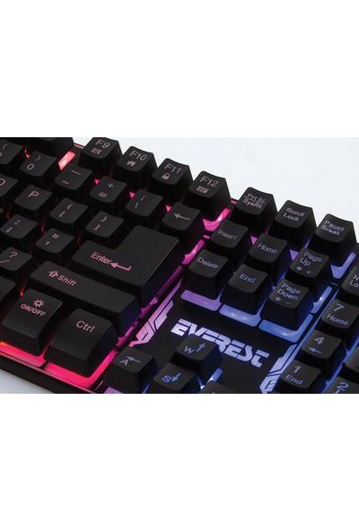 Everest KB-GX9 Siyah USB Gökkuşağı Renkli Aydınlatmalı US Layout Standart Oyuncu Klavye