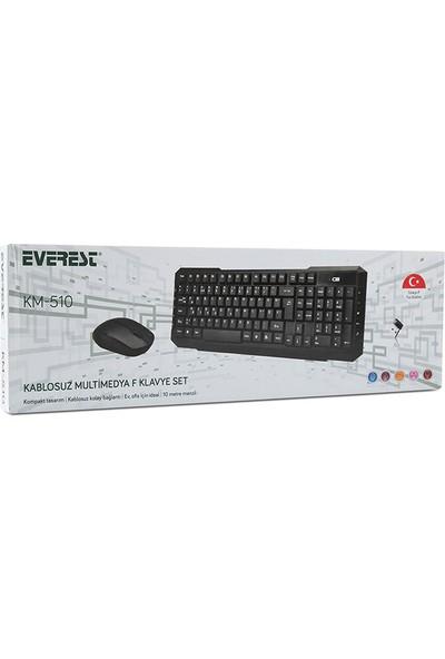Everest Km-510 Siyah Kablosuz Tam Türkçe F Multimedia Klavye + Mouse Set