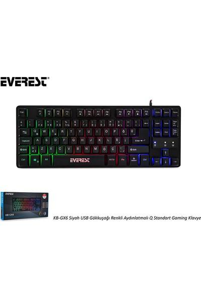 Everest KB-GX6 Siyah USB Gökkuşağı Renkli Aydınlatmalı Q Standart Oyuncu Klavye