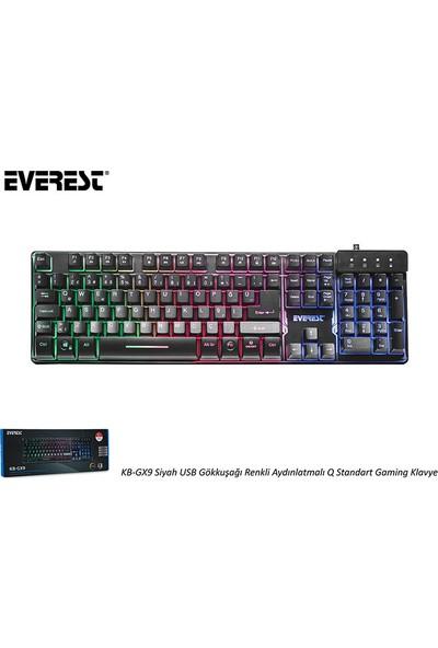 Everest KB-GX9 Siyah USB Mekanik Hisli Gökkuşağı Aydın. Q Oyuncu Klavyesi