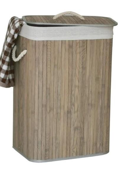Lorin Bambu Katlanır Çamaşır Sepeti Gri