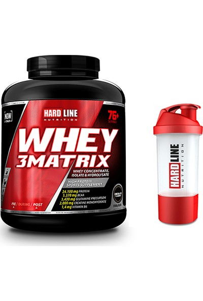 Hardline Nutrition Hardline Whey 3 Matrix Protein Tozu 2300 gr ve Shaker