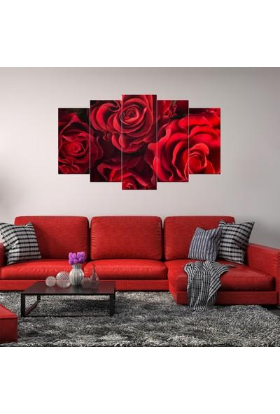 Alice Decor Kırmızı Güller Dekoratif 5 Parça Mdf Tablo