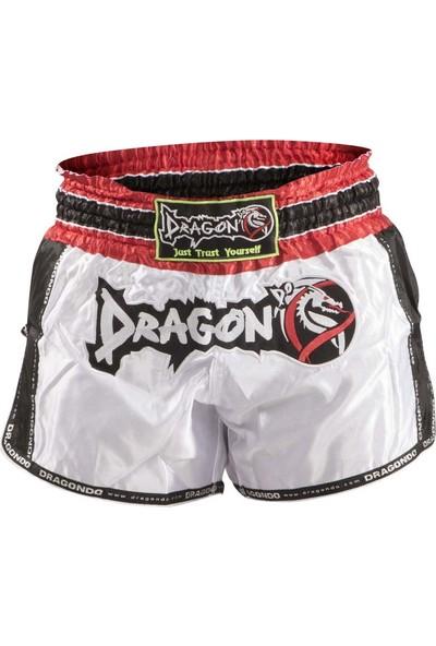 Dragon Muay Thai Şortu - Retro - Beyaz