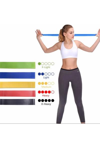Leyaton Aerobik Band Latex Aerobik Bandı Pilates Yoga Lastiği Full Set 5'li Set