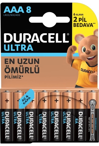 Duracell Ultra Alkalin AAA İnce Kalem Pil 8'li Paket