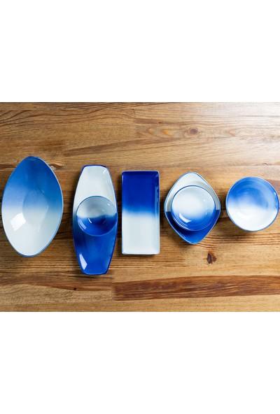 English Home Vega Porselen Çerezlık 10 Cm.. Beyaz - Mavi