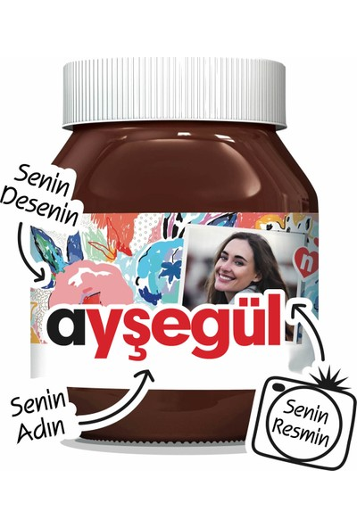 Nutella Isme Özel Nutella 1 Adet 630GR (Senin Ismin - Senin Resmin - Senin Desenin)