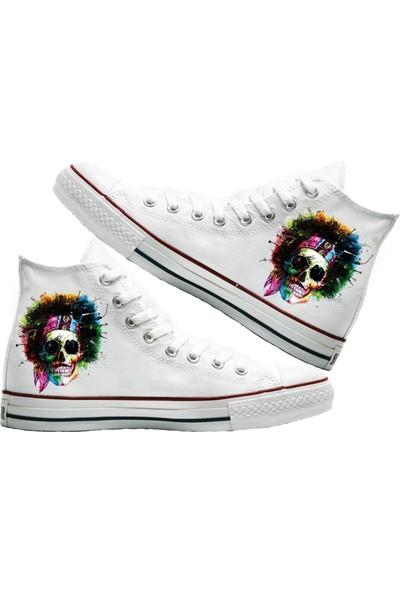 Art Fashion Skull Baskılı Unisex Canvas Ayakkabı