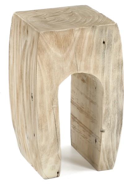 Glam Wooden Kare Sehpa Beyaz Eskitme