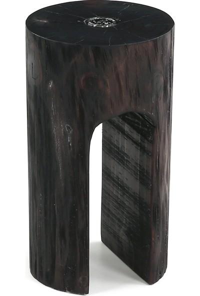 Glam Wooden Yuvarlak Sehpa Venge Büyük