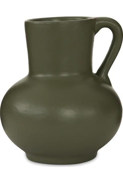 Glam Timeless Seramik Vazo Mat Olive Yeşil