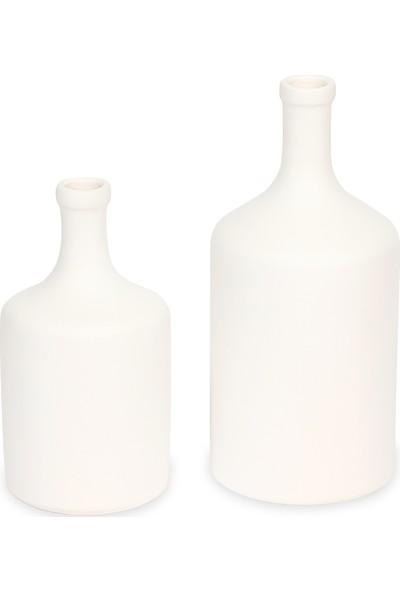 Glam Raw Seramik 2li Vazo Seti Mat Beyaz