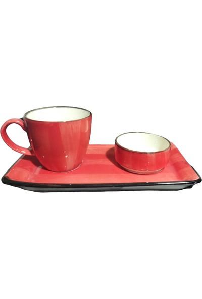 Evanilife 2 Kişilik 6 Parça Kırmızı Renk Özgün Desen Özel El Dekorlu Kahve Fincan Seti