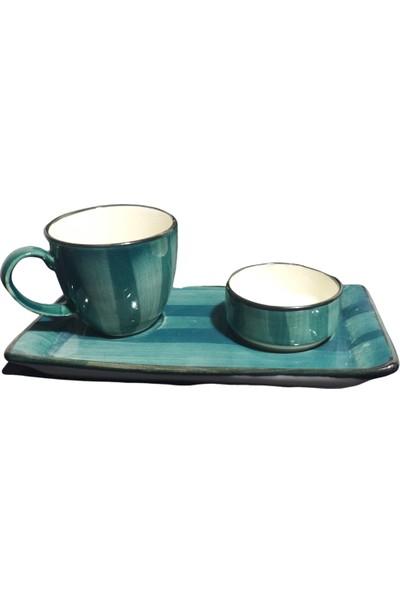 Evanilife 2 Kişilik 6 Parça Petrol Yeşili Renk Özgün Desen Özel El Dekorlu Kahve Fincan Seti