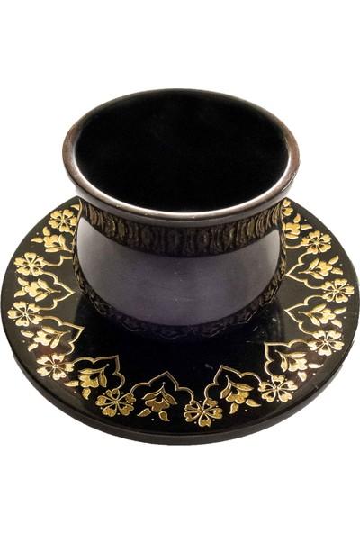 Unique By Dilara Yarcı Türk Kahve Fincanı Penç ve Goncagül Motifli Toros Siyahı Mermer