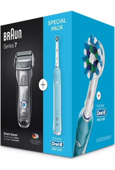 Braun 7893S Traş Makinesi + Oral B Pro 500 Diş Fırçası