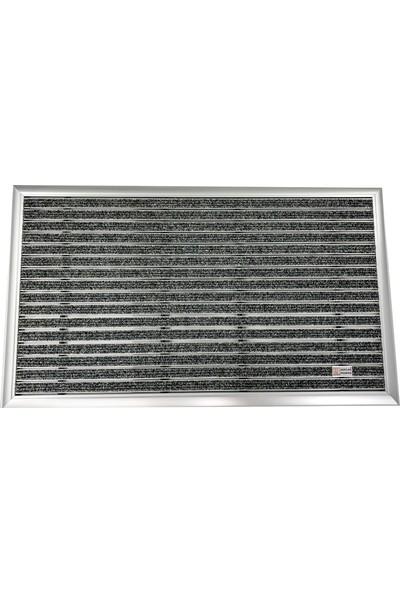 Sermat Alüminyum Çerçeveli Metal Halı Fitilli Kapı Paspası - 40 x 60 cm Gri