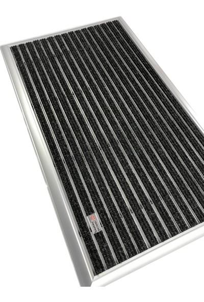 Sermat Alüminyum Çerçeveli Metal Halı Fitilli Kapı Paspası - 40 x 60 cm Siyah