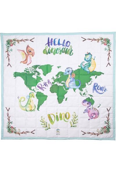 Miujoy Eğitici Sağlıklı Dünya Haritalı Oyun Halısı - Dino