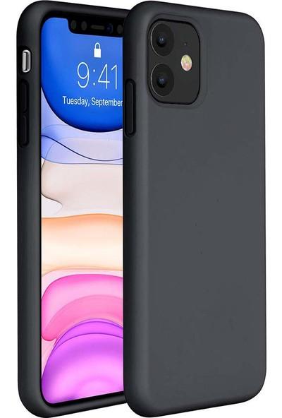 Toucan Apple iPhone 11 Kılıf Liquid Silikon 4 Tarafı Tam Koruma Siyah