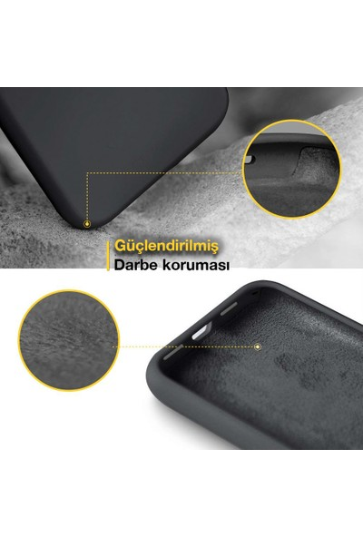 Toucan Apple iPhone 11 Pro MaX Kılıf Liquid Silikon 4 Tarafı Tam Koruma Siyah