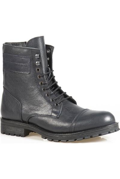 Ayakkabı Çarşı Lacivert Bağcıklı Askeri Kürklü Erkek Bot BT119