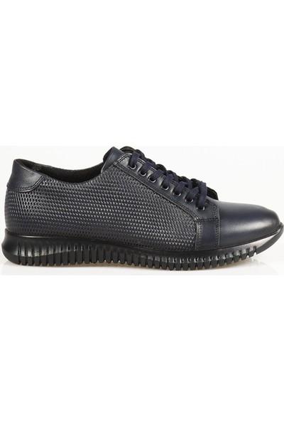 Ayakkabı Çarşı Günlük Bağcıklı Lacivert Hakiki Deri Ayakkabı CNR132