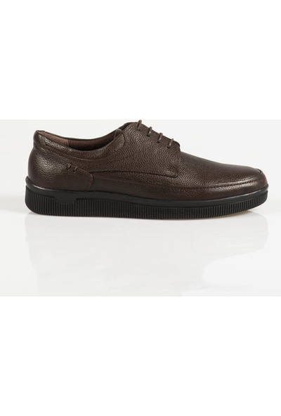Ayakkabı Çarşı Günlük Bağcıklı Kahverengi Hakiki Deri Ayakkabı CNR141