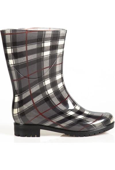 Ayakkabı Çarşı Gri Çizgili Kadın Kısa Çizme CNRKÇ174